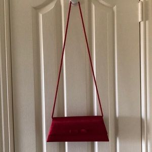Lord and Taylor Red Satin Evening Purse